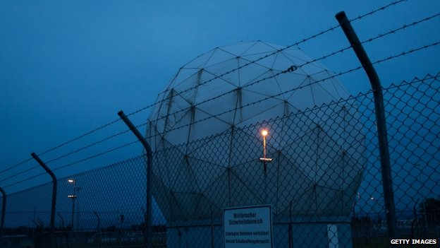 Radomes at a facility called the Bad Aibling Station once used by the NSA stand at dusk on 23 June 2014 near Bad Aibling, Germany