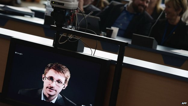 Edward Snowden speaks to European officials via videoconference during a parliamentary hearing on improving the protection of whistleblowers at the Council of Europe in Strasbourg, eastern France (June 2014)