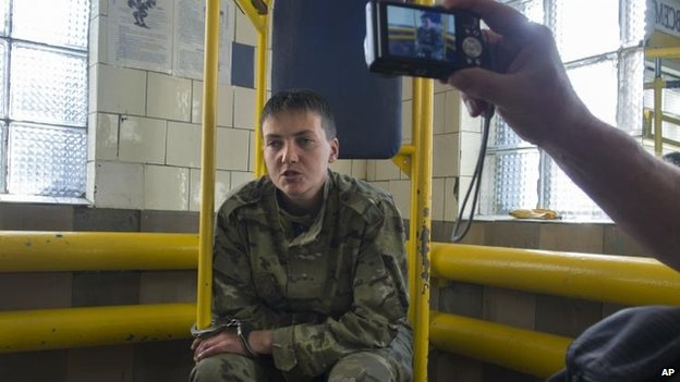 Nadiya Savchenko, 33, speaks to journalists shortly after her capture in Luhansk, Ukraine, 19 June