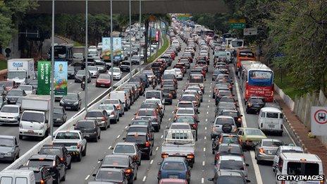 traffic jam in Brazil