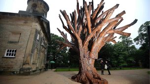 A sculpture by Chinese artist Ai Weiwei is displayed at the chapel at the Yorkshire Sculpture Park