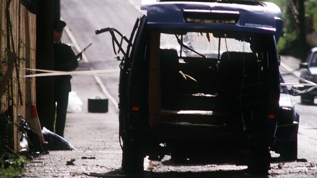 Van where eight IRA men were shot dead