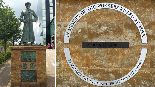 A monument to the steelworkers of Corby who were killed at work