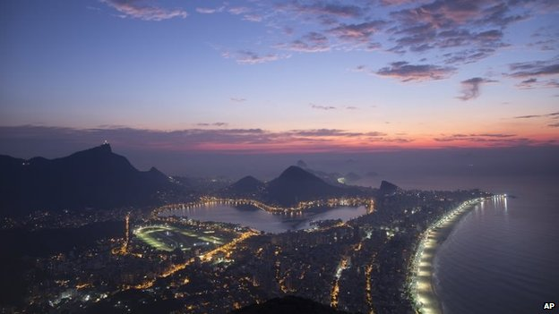 View from the Morro Dois Irmaos as the day begins to dawn in Rio de Janeiro on 17 May 2014