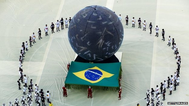 Artists perform during the opening ceremony of the 2014 FIFA World Cup Brazil on 12 June , 2014