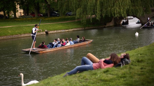 A couple relax as a punt goes past on the River Cam