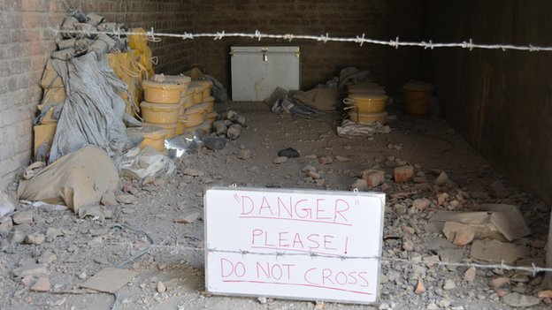Danger sign leading into closed off room in Miranshah
