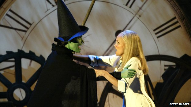 Kristin Chenoweth (r) with Wicked co-star Idina Menzel