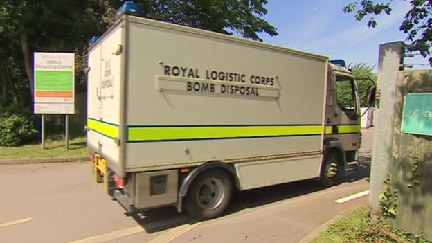 Bomb disposal unit at Williton Recycling Centre
