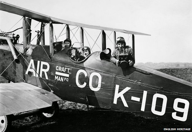 Francis Lewis Wills, pilot Jerry Shaw and Claude Friese-Greene take to the air in a DH9B biplane in July 1919