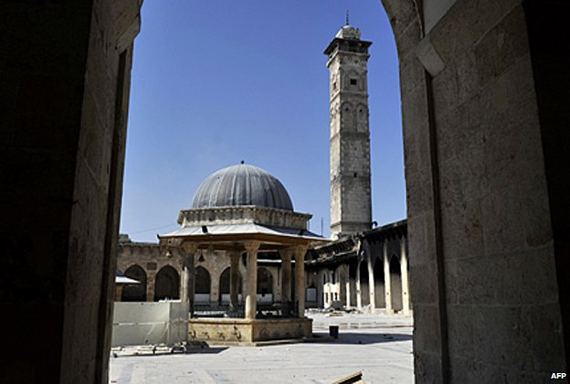 Aleppo's Great Mosque with the minaret