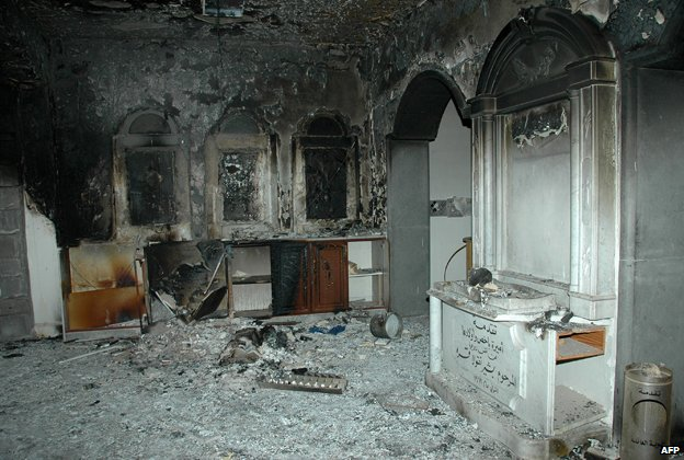 The damaged interior of Homs Umm Zinnar Church