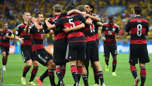 German players celebrate