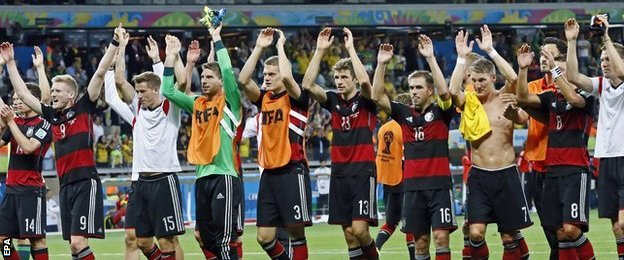 Germany's players acknowledge their fans