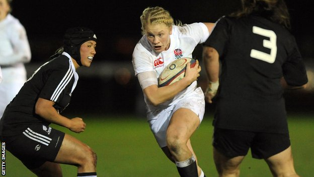 Alexandra Matthews of England Women takes on New Zealand Women defence during the England Women v New Zealand Womens match at the Army Rugby Stadium on November 27