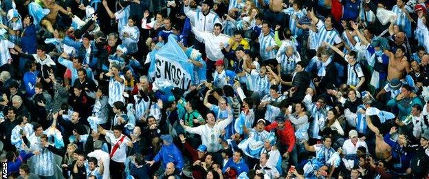 Argentina fans celebrate