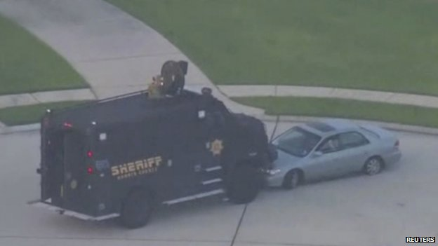 Houston shooting suspect's car blocked by police vehicle