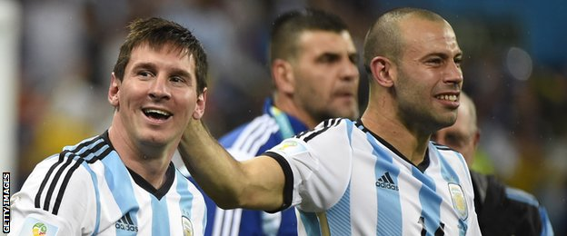 Lionel Messi (left) and Javier Mascherano celebrate Argentina's penalty shootout victory over the Netherlands in the 2014 Fifa World Cup semi-final in Sao Paulo
