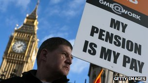 A member of the general trade union GMB stands outside The Houses of Parliament in London on November 30, 2011