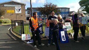 Picket line at Charles Thorp Comprehensive School