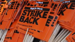 Strike placards