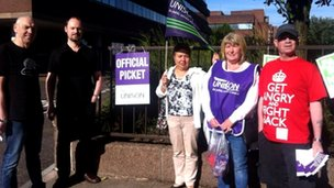 Picket line outside Wolverhampton's Civic centre