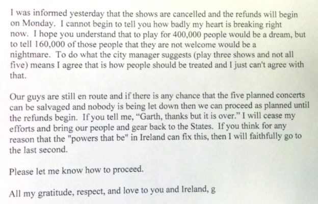 Garth Brooks letter