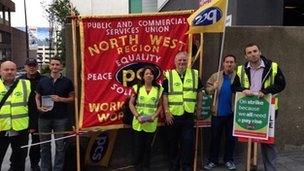 Passport office workers picket line