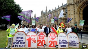 Union members and public sector workers on strike