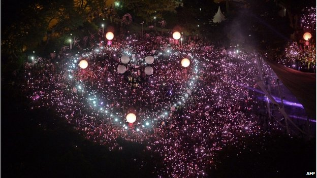 Gay rights supporters form a giant pink dot at Speakers' Corner in Singapore on 28 June 2014.
