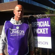 Chris Cooper who works in East Park on a Unison picket line