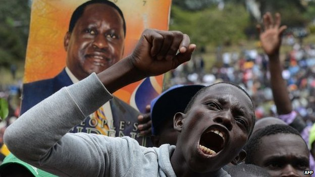 A supporter of Kenya's opposition leader Raila Odinga on 7 July 2014 at the Uhuru park grounds in Nairobi
