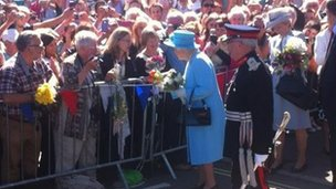 The Queen talking to people in Matlock