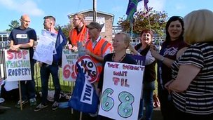 Picket line in Gateshead