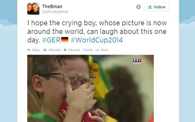"Tweet featuring photo of crying boy. Text reads ""I hope the crying boy, whose picture is now around the world, can laugh about this one day."""