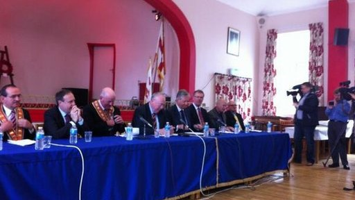 Unionist leaders and senior Orange Order figures held a news conference on Wednesday