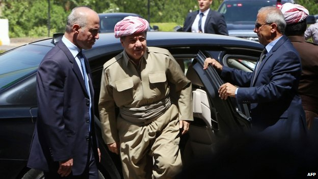 President of Iraq's autonomous Kurdistan region Massud Barzani arrives for a session of the Kurdistan parliament in Erbil on 3 July 2014.