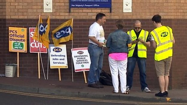 Picket line at Glasgow passport office