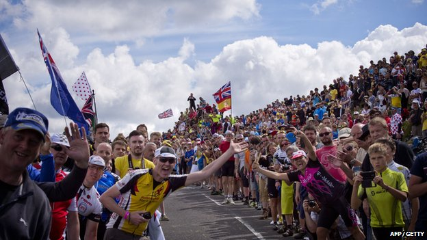 Crowds on Tour de France route