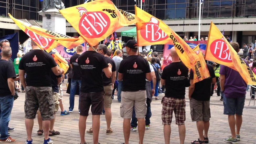 Fire Brigades Union workers join strikes in Portsmouth.