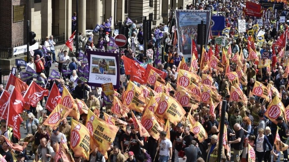 Public sector workers march through Newcastle city centre.