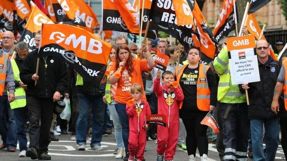 GMB union members march through Brighton.