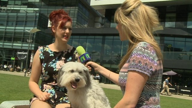 Ashleigh, Pudsey and Newsround reporter Jenny