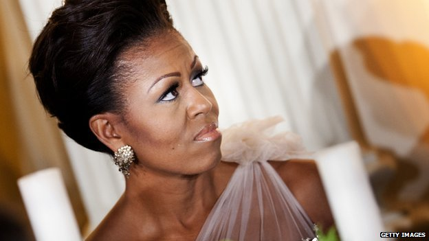 A photo of Michelle Obama at a White House formal dinner