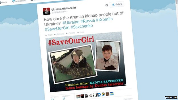 Screengrab of tweet in support of Nadiya Savchenko