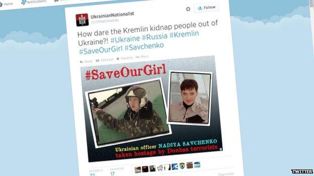 Screengrab of tweet in support of Nadiya Savchenko