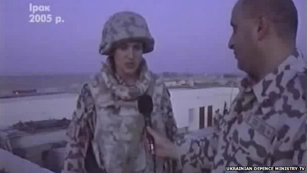 Nadiya Savchenko speaks to a reporter while serving in Iraq in 2005, in a still image of footage used in a feature report by Ukrainian Defence Ministry TV