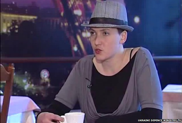 Nadiya Savchenko speaks in a feature report by Ukrainian Defence Ministry TV