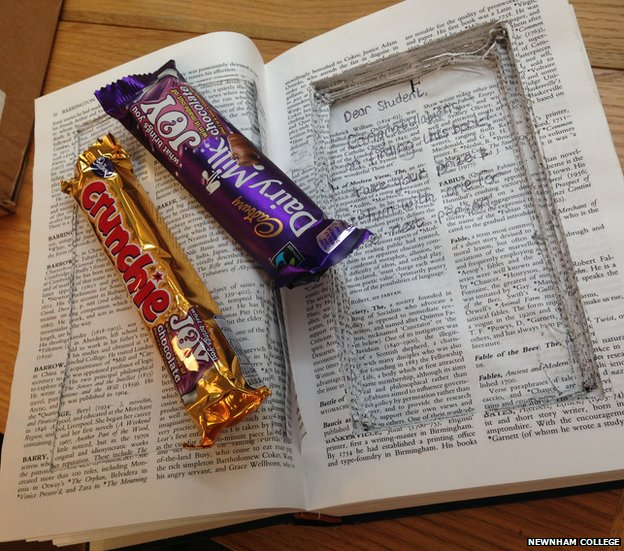 Chocolate bars on book