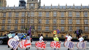 Public sector campaigners outside Houses of Parliament